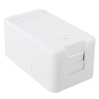 1 Port Keystone Jack Surface Mount Box With Shutter - White