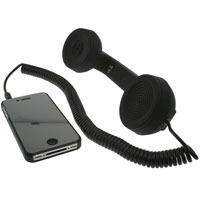 Retro Phone Handset with 3.5mm Stereo Cable - Black