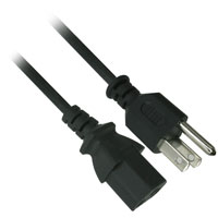 25ft 18AWG AC Power Cord (NEMA 5-15P to IEC 60320 C13) - Black
