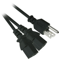 6ft 18AWG AC Power Y Cord (NEMA 5-15P to 2 x IEC 60320 C13) - Black