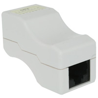 Cat6 Inline Coupler, Jack to Jack Unshielded, White