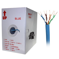 1000ft Bare Copper Cat6 Bulk Cable, Solid Wire, Double Shielded - Blue
