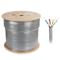 1000ft Bare Copper Cat6 Bulk Cable, Solid Wire, Double Shielded - Grey