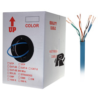 1000ft Bare Copper Cat6 Bulk Cable, Stranded Wire - Blue