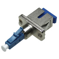 LC to SC Hybrid Male to Female Fiber Adapter, Simplex, Singlemode, Zirconia Sleeve, Flange - Metal / Blue