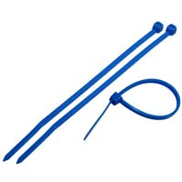 Nylon Cable Tie, 4 inches Long, 18lbs Tensile Strength, 100pcs/pack - Blue (Nylon 66, UL 9V-2)