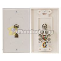 Decora Type F Connector and RJ11 (6P6C) Wall Plate, White