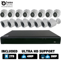 24 Channel Hybrid DVR System with 16 x 2.1MP HD Dome / Bullet Cameras (2TB HDD Included)