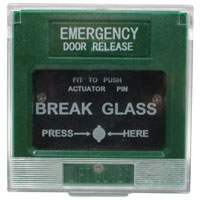 Emergency Door Release with Shock-Resistant Transparent Acrylic, Green