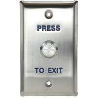 Push-to-Exit Button Wall Plate, Rectangle, Stainless Steel with Metal Button (Normal Close or Open)