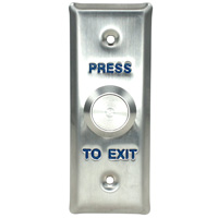 Push-to-Exit Button Wall Plate, Narrow Rectangle, Stainless Steel with Metal  Button (Normal Close or Open)