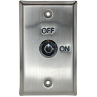 Exit Key Switch Wall Plate, Rectangular, Stainless Steel