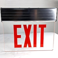 Aluminum Clear Etched Acrylic Edge Lit LED LIghted Store Red EXIT Sign, Safety Battery Backup