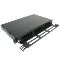 "1U 19"" Rack Mount Fiber Enclosure for 3 LGX Adapter Panels or 3  LGX Cassettes with Support Bar- Black"