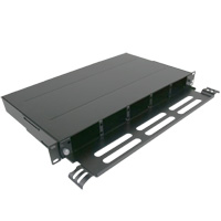 "1U 19"" Rack Mount Fiber Enclosure for 5 HD Adapter Panels or 5 HD Cassettes with Support Bar- Black"