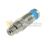 RCA Female Waterproof Connector for RG6 Quad, Blue, OD:8.5mm