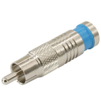 RCA Male Waterproof Connector for RG6 Quad, Blue, OD: 8.5mm