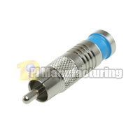 RCA Male Waterproof Connector for RG59 Quad, Blue OD: 7.5mm