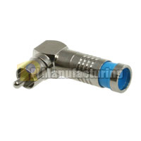 RCA Male Waterproof Right Angle Connector for RG6 Quad, Blue OD: 8.5mm