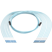 40G 8 LC to 8 LC 50/125 OM3 Multimode Fiber Cable, Plenum OFNP, 8 Fiber, 100 meter, OD: 6.0mm