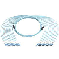 12 LC to 12 LC 50/125 OM3 Multimode Fiber Cable, Plenum OFNP, 12 Fiber, 100 meter, OD: 6.5mm