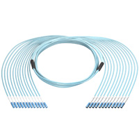 12 LC to 12 LC 50/125 OM4 Multimode Fiber Cable, Plenum OFNP, 12 Fiber, 100 meter, OD: 6.5mm