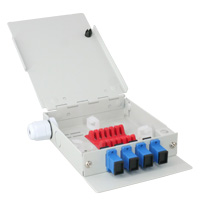 4 Port FTTH Fiber Termination Box, Wall Mount, Metal Construction