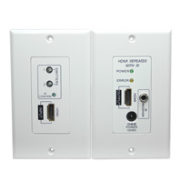 HDMI Repeater Wall Plate with Built-in IR (Up to 115ft at 1080p)