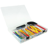 4 inch Pre-Cut Heat Shrink Sleeve Tubing Assorted Size Set with Portable Heat Gun, 2:1, 161pcs -  Assorted Colors
