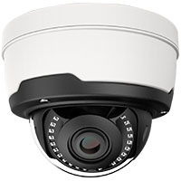 5MP Vandal Proof IP Dome Camera, 2.8-12mm Motorized Varifocal Lens, H.265, 115ft IR (with PoE, Audio In/Out, Alarm I/O, Reset, and BNC Video Output)