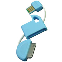 4.8 inch USB Cable Keychain for 30-Pin Apple Devices - Blue