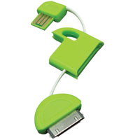 4.8 inch USB Cable Keychain for 30-Pin Apple Devices - Green