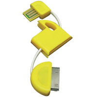 4.8 inch USB Cable Keychain for 30-Pin Apple Devices - Yellow