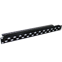 19 inch 1U 24 Port Loaded Cat6a Keystone Patch Panel