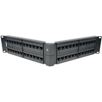 19 inch 2U 48 Port Cat6 Angled Patch Panel, 110 Type, 568A/B