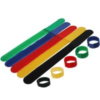 Hook and Loop Cable Tie 7 inch Long x 0.78 inch Wide, 5pcs/pack - Black, Blue, Red, Yellow, Green