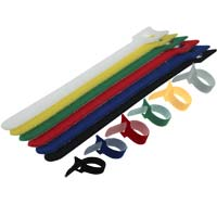 Hook and Loop Cable Tie 9.5 inch Long x 0.48 inch Wide, 6pcs/pack - Black, Blue, Red, Yellow, Green, White