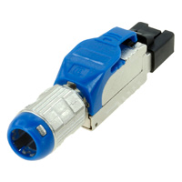 Cat8 Field Terminable Plug for Solid / Stranded Wire Cable, 22-24AWG, 8.50mm OD - Blue