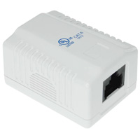 1 Port Cat6 Surface Mount Box, 1 Cable Entrance - White