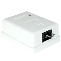 1 Port Cat6 UTP Surface Mount Box with Lock, 110 Type - White