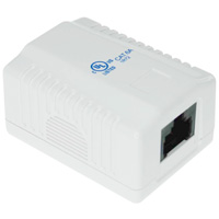 1 Port Cat6a Surface Mount Box, Fully Shielded, 1 Cable Entrance