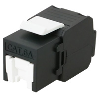 Cat6a UTP Keystone Jack, Tool-less / Punch Down, 180 Degree, 23-26 AWG, With Shutter - Black