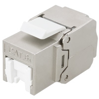 Cat6a STP Shielded Keystone Jack, Tool-less / Punch Down, 180 Degree, 23-26 AWG, With Shutter - Silver