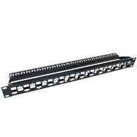 19 inch 1U 24 Port Unloaded Cat6a Patch Panel with Cable Management Bar (Unshielded)
