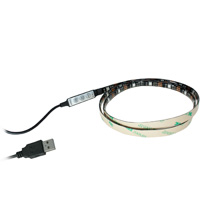 3.3ft RGB LED Light Strips, 30 Units SMD 5050 LEDs, 5V USB Power Input, Weather Resistant IP65