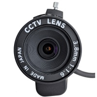 3.8mm CS Mount Lens, F1.6 w/ Auto Iris for 1/3in NTSC CVBS Box Cameras, Made in Japan