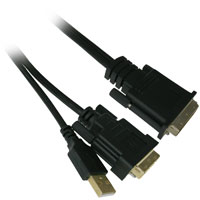 6ft M1 (P&D) Male to DVI-D and USB Male Projector Cable