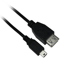 6 inch Mini-USB 5 Pin Male to USB A Female Adapter Cable
