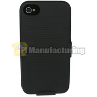 iPhone 4 / 4S Combo Detachable Hard Shell Case with Kickstand and Holster - Black (AT&T / Verizon / Sprint)