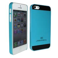 iPhone 5s Case with Black Brush Aluminum Accent - Light Blue